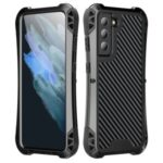 R-JUST Carbon Fiber Texture Full Body Protection Shockproof Drop Tested Cover with Slide Camera Lens Cover for Samsung Galaxy S21 FE – Black
