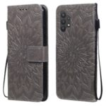 Sun Imprint PU Leather Wallet Phone Cover with Stand for Samsung Galaxy A32 4G (EU Version) – Grey