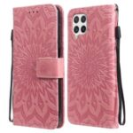 Sun Imprint PU Leather Folio Flip Wallet Phone Cover with Stand for Samsung Galaxy A22 4G (EU Version) – Rose