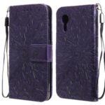 Imprinting Flower Pattern PU Leather Wallet Phone Cover with Stand for Samsung Galaxy Xcover 5 – Purple