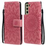 Sun Imprint PU Leather Full Protection Wallet Phone Stand Cover for Samsung Galaxy S21 FE – Rose
