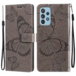 Full Protection Butterfly Flower Imprint PU Leather Wallet Phone Stand Cover for Samsung Galaxy A82 5G – Grey
