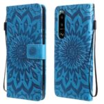 Imprinting Flower Pattern PU Leather Wallet Phone Cover with Stand for Sony Xperia 1 III 5G – Blue