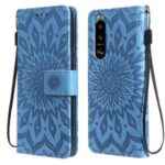 Flower Pattern Imprinting PU Leather Wallet Phone Cover with Stand for Sony Xperia 5 III 5G – Blue