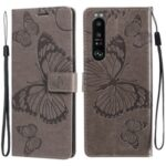 Wallet Design Butterflies Pattern Imprinting Leather Case with Stand for Sony Xperia 1 III 5G – Grey
