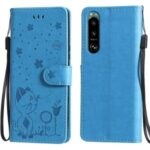 Wallet Stand Design Cat and Bee Pattern Imprinting Folio Flip Leather Case for Sony Xperia 5 III 5G – Blue