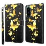 Pattern Printing Wallet Leather Phone Cover for Sony Xperia 5 III 5G – Gold Butterfly