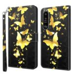 Pattern Printing Wallet Leather Protector Cover for Sony Xperia 1 III 5G – Gold Butterfly