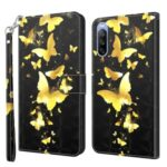 Pattern Printing Wallet Leather Protector Cover for Sony Xperia 10 III 5G – Gold Butterfly