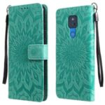 Flower Pattern Imprinting PU Leather Wallet Phone Cover with Stand for Motorola Moto G Play (2021) – Green