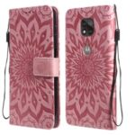 Flower Pattern Imprinting PU Leather Phone Cover with Wallet Stand for Motorola Moto G Power (2021) – Pink