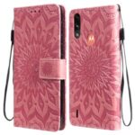 Wallet Design Flower Pattern Imprinting PU Leather Stand Phone Cover for Motorola Moto E7 Power – Pink