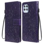 Wallet Stand Design Flower Pattern Imprinting PU Leather Phone Cover for Motorola Moto G100/Edge S – Purple