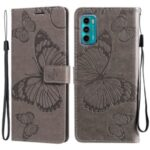 Butterflies Pattern Imprinting Leather Wallet Stand Case for Motorola Moto G40 Fusion/G60 – Grey