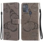 Butterfly Flower Imprint Anti-drop PU Leather Wallet Phone Stand Cover for Motorola Moto G50 – Grey