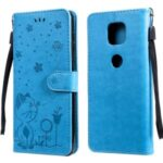 Cat and Bee Pattern Imprinting Folio Flip Wallet Leather Case with Stand for Motorola Moto G Power (2021) – Blue