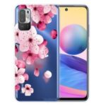 Full Coverage Shockproof Anti-Scratch Soft TPU Phone Cover with Pattern Printing Design for Xiaomi Poco M3 Pro 5G / 4G / Redmi Note 10 5G – Peach Blossom