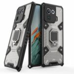 Kickstand Slim Shockproof PC + TPU Hybrid Rugged Protective Cover Built-in Magnetic Holder for Xiaomi Mi 11 Pro – Grey