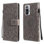 Sun Imprint PU Leather Well-protected Wallet Stand Cover for Xiaomi Redmi Note 10 Pro/10 Pro Max – Grey