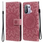 Flower Pattern Imprinting PU Leather Wallet Phone Cover with Stand for Xiaomi Mi 11 Pro – Pink