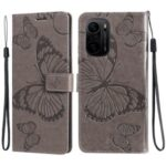 Butterflies Pattern Imprinting Leather Case with Wallet Stand for Xiaomi Redmi K40/K40 Pro/Mi 11i/Poco F3 – Grey