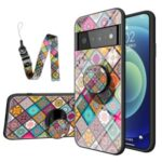Colorful Flower Pattern Tempered Glass Hybrid Slim Lightweight Back Cover with Kickstand Strap for Google Pixel 6 Pro – Checkered Pattern