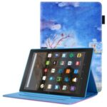 Pattern Printing Leather Tablet Stand Case with Auto Wake/Sleep Function for Amazon Fire HD 10 (2021) / Fire HD 10 Plus (2021) – Elephant