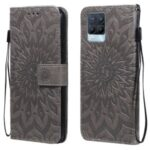 Sun Imprint PU Leather Anti-drop Wallet Stand Phone Cover for Realme 8/8 Pro – Grey