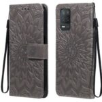 Sun Imprint PU Leather Drop-resistant Wallet Stand Cell Phone Cover for Realme V13 5G/8 5G – Grey