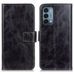 Retro Style Crazy Horse Texture Leather Wallet Stand Phone Case for OnePlus Nord N200 5G – Black