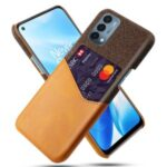 KSQ Cloth Texture Well-Protected Phone Cover Case with Card Slot for  OnePlus Nord N200 5G – Brown