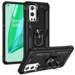 Dual Layer Tank Armor Hybrid Shockproof Soft TPU + Tough PC Back Cover with Kickstand Ring for OnePlus 9 Pro – Black