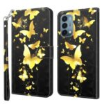 Pattern Printing Wallet Leather Protector Cover for OnePlus Nord N200 5G – Gold Butterfly