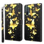 Pattern Printing Wallet Leather Case Cover for OnePlus Nord CE 5G – Gold Butterfly