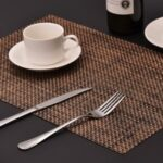 MJ7814 PVC Braided Non-Slip Placemat Dining Table Mat Heat-insulated Tableware Bowl Pads – Yellowish Brown