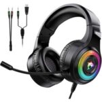 J-ANKKA-F2 Gaming Headset Stereo Noise Canceling Over-Ear Headphone with Mic LED Light for PS4/PS5/Xbox One/PC
