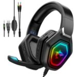 J-ANKKA-F3 Professional Gaming Headset 7.1 Stereo Over-Ear Headphone with Noise Canceling Mic LED Light for PS4/PS5/Xbox One/Computer