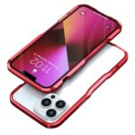 LUPHIE Shockproof Metal Frame Armor Bumper Case for iPhone 13 Pro Max 6.7 inch – Red