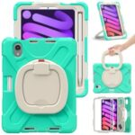 PC + Silicone Hybrid Tablet Case 360° Swivel Hand Grip Kickstand Shell Cover Protector for iPad mini (2021) – Mint Green