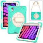 Hand Band Design Hybrid Tablet Cover 360° Swivel Kickstand Case with Shoulder Strap for iPad mini (2021) – Mint Green