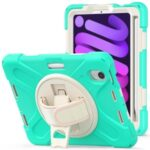 PC + Silicone Hybrid Case Cover Shell with Hand Band 360° Swiveling Kickstand for iPad mini (2021) – Mint Green