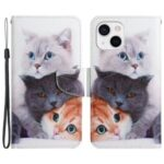 Pattern Printing Wallet Stand Design Magnetic Clasp PU Leather Phone Cover Flip Case for iPhone 13 mini 5.4 inch – Three Cats
