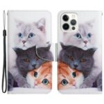 Pattern Printing Folio Flip Wallet Stand Leather Phone Case Shell for iPhone 13 Pro Max 6.7 inch – Three Cats
