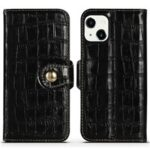 Wallet Design Crocodile Texture Genuine Leather Flip Folio Stand Protective Cover for iPhone 13 6.1 inch – Black