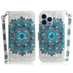 Light Spot Decor Pattern Printing Wallet Stand Leather Case Flip Cover for iPhone 13 Pro 6.1 inch – Mandala Flower