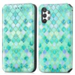 CASENEO 001 Series Colorful Pattern Printing Magnetic PU Leather RFID Blocking Wallet Stand Case for Samsung Galaxy A32 4G (EU Version) – Emerald