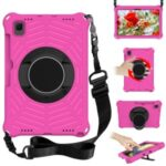 Spider Web Texture Kickstand Design Anti-fall EVA Tablet Protective Cover Case with Shoulder Strap for Samsung Galaxy Tab S6 Lite 10.4 2020 SM-P610/P615 – Rose