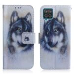 Pattern Printing Design PU Leather Magnetic Flip Folio Stand Wallet Case for Samsung Galaxy M32 4G (Global Version) – Wolf