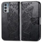Imprinting Butterfly Flower Wallet Stand PU Leather Phone Case Cover for Motorola Edge 20 – Black