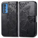 Butterfly Flower Imprinted Phone Wallet Stand Case Leather Cover with Strap for Motorola Edge 20 Pro – Black